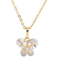 Gets® Schmuck Halskette, Messing, Schmetterling, 18 K vergoldet, Oval-Kette & mit kubischem Zirkonia, frei von Nickel, Blei & Kadmium, 16x13mm, verkauft per ca. 18 ZollInch Strang