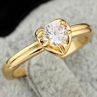 Gets® Finger Ring, Messing, 18 K vergoldet, mit kubischem Zirkonia, frei von Nickel, Blei & Kadmium, 4mm, Größe:6.5, verkauft von PC