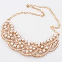 Glasperlen Halsketten, mit Eisenkette & Zinklegierung, Rósegold-Farbe plattiert, frei von Nickel, Blei & Kadmium, 3x13cm, Länge:ca. 15.5 ZollInch, 5SträngeStrang/Tasche, verkauft von Tasche
