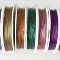 Stahldraht, mit Kunststoff, plattiert, mit bedecktem Gummi & 7 Garn & Stahl Durchmesser:0.5 mm, gemischte Farben, 0.60mm, Länge:60 m, 3Taschen/Menge, 10/Tasche, verkauft von Menge
