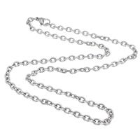 Halskette, 304 Edelstahl, Oval-Kette, originale Farbe, 5x3.50x1mm, Länge:ca. 17.5 ZollInch, 50SträngeStrang/Menge, verkauft von Menge