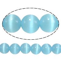 Cats Eye Perlen Schmuck, Katzenauge, rund, blau, 5mm, Bohrung:ca. 1mm, Länge:ca. 16 ZollInch, 20SträngeStrang/Menge, ca. 93PCs/Strang, verkauft von Menge