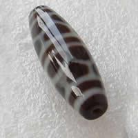 Natürliche Tibetan Achat Dzi Perlen, oval, zweifarbig, Grad AAA, 11x38mm, Bohrung:ca. 2mm, verkauft von PC