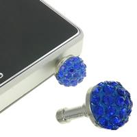 Kopfhöreranschluss Staubschutz-Stöpsel, Zinklegierung, Platinfarbe platiniert, mit Strass, blau, frei von Nickel, Blei & Kadmium, 11x18mm, 10PCs/Tasche, verkauft von Tasche