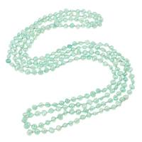 Natürliche Süßwasserperlen Halskette, Natürliche kultivierte Süßwasserperlen, mit Glas-Rocailles, 2 strängig, hellgrün, 5-7mm, verkauft per ca. 64.5 ZollInch Strang