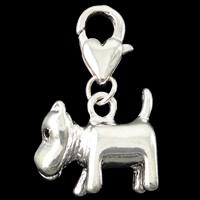 Zinklegierung Karabinerverschluss Charm, Hund, silberfarben plattiert, frei von Nickel, Blei & Kadmium, 16x28x7mm, Bohrung:ca. 5mm, 10PCs/Tasche, verkauft von Tasche