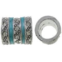 Strass Zinklegierung Perlen, Rohr, Platinfarbe platiniert, Emaille & mit Strass, frei von Nickel, Blei & Kadmium, 14x13.5mm, Bohrung:ca. 9.5mm, 10PCs/Tasche, verkauft von Tasche