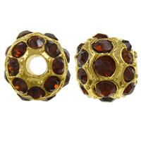 Strass Zinklegierung Perlen, Trommel, goldfarben plattiert, mit Strass, frei von Nickel, Blei & Kadmium, 9x10mm, Bohrung:ca. 2mm, 10PCs/Tasche, verkauft von Tasche