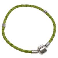 European Armband, Leder, Messing Europa Verschluss, Platinfarbe platiniert, grün, frei von Nickel, Blei & Kadmium, 2.5mm, Länge:ca. 7 ZollInch, 10SträngeStrang/Tasche, verkauft von Tasche