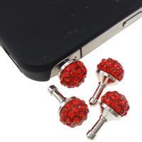 Kopfhöreranschluss Staubschutz-Stöpsel, Zinklegierung, Platinfarbe platiniert, mit Strass, rot, frei von Nickel, Blei & Kadmium, 10x18mm, 10PCs/Tasche, verkauft von Tasche