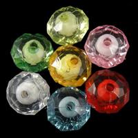 Perlen in Perlen Acrylperlen, Acryl, Abakus, gemischte Farben, 12x8.50mm, Bohrung:ca. 2mm, ca. 700PCs/Tasche, verkauft von Tasche