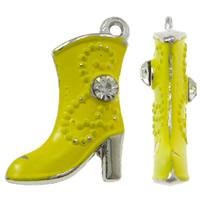Zinklegierung Schuhe Anhänger, Spritzlackierung, mit Strass, gelb, frei von Nickel, Blei & Kadmium, 16x21x4mm, Bohrung:ca. 1.5mm, 50PCs/Tasche, verkauft von Tasche