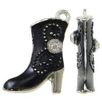Zinklegierung Schuhe Anhänger, Spritzlackierung, mit Strass, schwarz, frei von Nickel, Blei & Kadmium, 16x21x4mm, Bohrung:ca. 1.5mm, 50PCs/Tasche, verkauft von Tasche