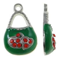 Zinklegierung Handtasche Anhänger, Platinfarbe platiniert, Emaille & mit Strass, grün, frei von Nickel, Blei & Kadmium, 12x20x4mm, Bohrung:ca. 2mm, 50PCs/Tasche, verkauft von Tasche