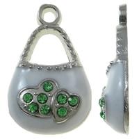Zinklegierung Handtasche Anhänger, Platinfarbe platiniert, Emaille & mit Strass, weiß, frei von Nickel, Blei & Kadmium, 12x20x4mm, Bohrung:ca. 2mm, 50PCs/Tasche, verkauft von Tasche