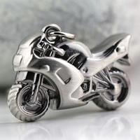 Zinklegierung Schlüsselanhänger, Motorrad, metallschwarz plattiert, frei von Nickel, Blei & Kadmium, 25x35x10mm, verkauft von PC