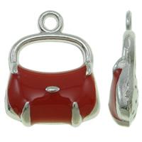 Zinklegierung Handtasche Anhänger, Platinfarbe platiniert, Emaille, rot, frei von Nickel, Blei & Kadmium, 13x17x4mm, Bohrung:ca. 1.5mm, 100PCs/Tasche, verkauft von Tasche