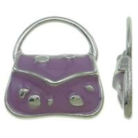 Zinklegierung Handtasche Anhänger, Platinfarbe platiniert, Emaille, violett, frei von Nickel, Blei & Kadmium, 15.50x18x3mm, Bohrung:ca. 11.5x6.5mm, 100PCs/Tasche, verkauft von Tasche