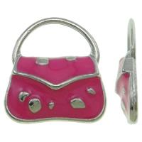 Zinklegierung Handtasche Anhänger, Platinfarbe platiniert, Emaille, Rosa, frei von Nickel, Blei & Kadmium, 15.50x18x3mm, Bohrung:ca. 11.5x6.5mm, 100PCs/Tasche, verkauft von Tasche