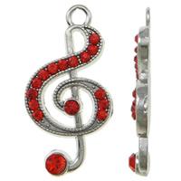 Musikinstrument Zinklegierung Anhänger, Musiknote, Platinfarbe platiniert, mit Strass, rot, frei von Nickel, Blei & Kadmium, 15x28x3mm, Bohrung:ca. 2mm, 100PCs/Tasche, verkauft von Tasche
