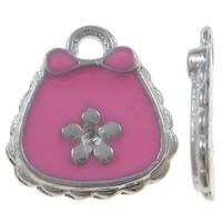 Zinklegierung Handtasche Anhänger, Platinfarbe platiniert, mit Blumenmuster & Emaille, Rosa, frei von Nickel, Blei & Kadmium, 13x14x1.50mm, Bohrung:ca. 1.5mm, 100PCs/Tasche, verkauft von Tasche