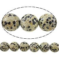 Dalmatinische Perlen, Dalmatiner, rund, facettierte, 8mm, Bohrung:ca. 1mm, Länge:ca. 15 ZollInch, 10SträngeStrang/Menge, ca. 46PCs/Strang, verkauft von Menge