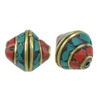 Indonesien Perlen, mit Natürliche Türkis & Messing, Doppelkegel, 13x12mm, 20PCs/Menge, verkauft von Menge