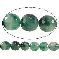 Natürliche Moos Achat Perlen, Leichte Mottle Grüne Jade, rund, facettierte, 8mm, Bohrung:ca. 1mm, Länge:ca. 15 ZollInch, 10SträngeStrang/Menge, ca. 50PCs/Strang, verkauft von Menge