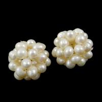 Ball Cluster Zuchtperlen, Natürliche kultivierte Süßwasserperlen, rund, weiß, 15-18mm, verkauft von PC