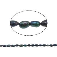 Barock kultivierten Süßwassersee Perlen, Natürliche kultivierte Süßwasserperlen, schwarz, Grade A, 6-7mm, Bohrung:ca. 0.8mm, verkauft per 14.5 ZollInch Strang