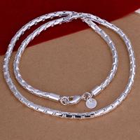 comeon® Schmuck Halskette, Messing, versilbert, Boston-Kette, frei von Nickel, Blei & Kadmium, 4mm, verkauft per ca. 20 ZollInch Strang