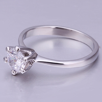 comeon® Finger-Ring, Zinklegierung, platiniert, mit kubischem Zirkonia, frei von Nickel, Blei & Kadmium, 8x8mm, Größe:8, verkauft von PC