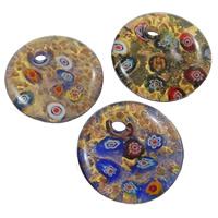 Millefiori Scheibe Glas Anhänger, Lampwork, flache Runde, handgemacht, mit Millefiori Scheibe & Goldsand & Goldfolie, gemischte Farben, 41x9mm, Bohrung:ca. 6mm, 12PCs/Box, verkauft von Box