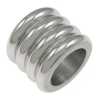Edelstahl-Perlen mit großem Loch, Edelstahl, Zylinder, großes Loch, originale Farbe, 8x10mm, Bohrung:ca. 6.5mm, 100PCs/Menge, verkauft von Menge