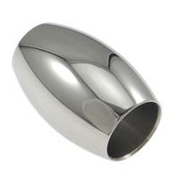 Edelstahl-Perlen mit großem Loch, Edelstahl, oval, großes Loch, originale Farbe, 15x10x1mm, Bohrung:ca. 6.5mm, 100PCs/Menge, verkauft von Menge