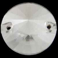 Glas Schmuckverbinder, flache Runde, silberfarben plattiert, imitierter Strass & verschiedene Größen vorhanden & facettierte & 1/1-Schleife, Bohrung:ca. 0.5-1mm, 100PCs/Tasche, verkauft von Tasche