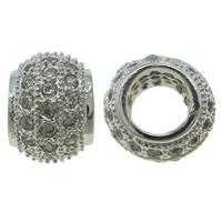 Zirkonia Micro Pave Messing Europa Bead, Trommel, Platinfarbe platiniert, Micro pave Zirkonia, frei von Nickel, Blei & Kadmium, 7x6mm, Bohrung:ca. 4.5mm, verkauft von PC