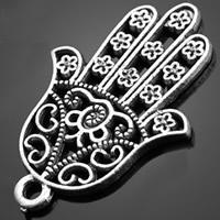 Zinklegierung Hamsa Anhänger, antik silberfarben plattiert, Jewelry Giúdach & Islam Schmuck, frei von Nickel, Blei & Kadmium, 20.20x30mm, Bohrung:ca. 1-3mm, 500PCs/Tasche, verkauft von Tasche