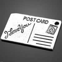 Zink-Legierung Anhänger Nachricht, Zinklegierung, Postkarte, antik silberfarben plattiert, frei von Nickel, Blei & Kadmium, 25.10x15.90mm, Bohrung:ca. 1-3mm, 500PCs/Tasche, verkauft von Tasche