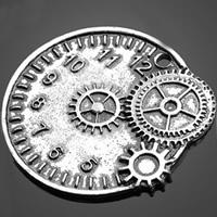 Zinklegierung Uhr Anhänger, Wecker, antik silberfarben plattiert, frei von Nickel, Blei & Kadmium, 35.20x32.30mm, Bohrung:ca. 1-3mm, 200PCs/Tasche, verkauft von Tasche
