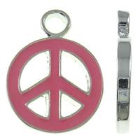 Zinklegierung Frieden Anhänger, Frieden Logo, Platinfarbe platiniert, Emaille, keine, frei von Nickel, Blei & Kadmium, 15x20x2mm, Bohrung:ca. 3mm, 10PCs/Tasche, verkauft von Tasche