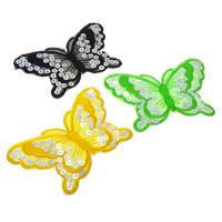 Nähen-auf Patch, Spitze, mit Kunststoff Pailletten, Schmetterling, keine, 94x60x1mm, 495PCs/Tasche, verkauft von Tasche