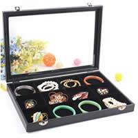 Multifunktionale Schmuck-Box, Karton, mit PU Leder & Baumwollsamt & Glas, Rechteck, 12 Zellen, schwarz, 350x240x45mm, verkauft von PC