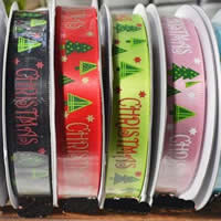 Weihnachten Bänder, Satinband, Kunstdruck, einzelseitig, gemischte Farben, 15mm, 4PCs/Menge, verkauft von Menge