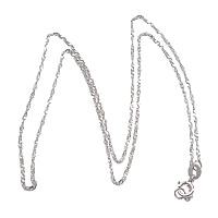 925 Sterling Silber Halskette Gliederkette, silberfarben plattiert, Singapur-Kette, Länge:ca. 18 ZollInch, 10SträngeStrang/Menge, verkauft von Menge