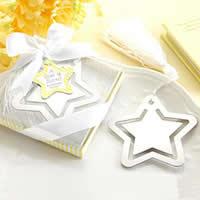 Edelstahl Lesezeichen, mit Nylonschnur, Stern, mit Papier-tag, 90x70x20mm, 40PCs/Menge, verkauft von Menge