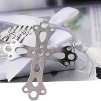 Edelstahl Lesezeichen, mit Nylonschnur, Kreuz, mit Papier-tag, 70x60x30mm, 30PCs/Menge, verkauft von Menge