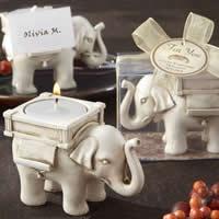 Harz Kerzenhalter, mit Paraffin & Baumwolle, Elephant, mit Tischkartenhalter, weiß, 85x55x60mm, 20PCs/Menge, verkauft von Menge