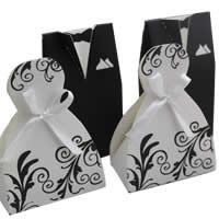 Hochzeit Süßigkeitenkasten, Papier, mit Satinband, Bekleidung, handgemacht, für paar, 100x58x38mm,85x58x38mm, 200SetsSatz/Menge, verkauft von Menge