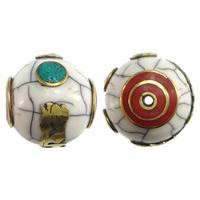 Buddhistische Perlen, Messing, mit Yakknochen & Türkis, rund, goldfarben plattiert, buddhistischer Schmuck, weiß, frei von Nickel, Blei & Kadmium, 17.50x17.50mm, Bohrung:ca. 2.5mm, 10PCs/Menge, verkauft von Menge